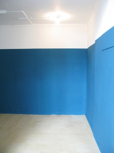 """Ocean Teal"" 2009 - fragment of the installation: ocean teal emulsion paint on the walls, sandpaper on the floor"
