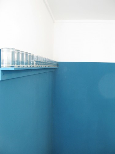 """Ocean Teal"" 2009 - fragment of the installation ocean teal emulsion paint, row of glasses, water"