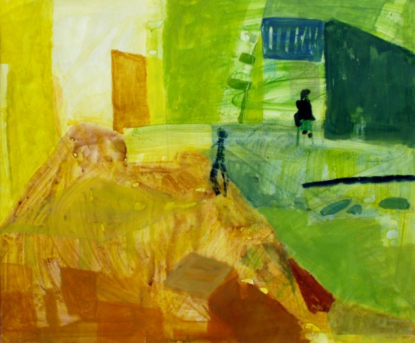 """Sitting on the chair"" 2005 (acrylics and pencils on cardboard. approx. 83 x 102 cm)"