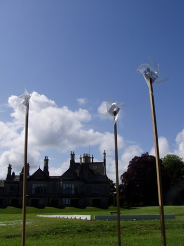 """""""Tilt at windmills"""" 2006 (fragment of the installation, Lauriston Castle visible at the background)"""