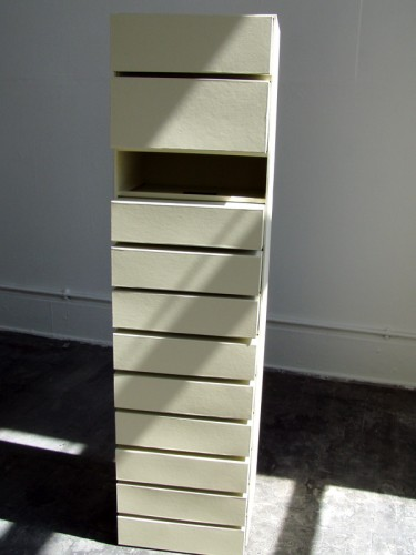 """""""Strongbox"""" 2008: a chest with movable handmade square drawers. 156 x 40 x 40 cm"""