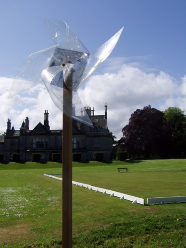 """""""Tilt at windmills"""" 2006 (detail of the installation, Lauriston Castle visible at the background)"""