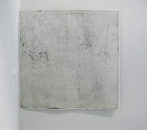 """""""Pigeon-hole"""" - fragment of the installation: etching on grey paper. 30 x 30 cm"""
