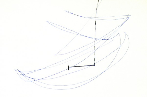 """Flight"" 2009 (pen drawing of the flying shuttlecock. approx. 12x 20 cm)"