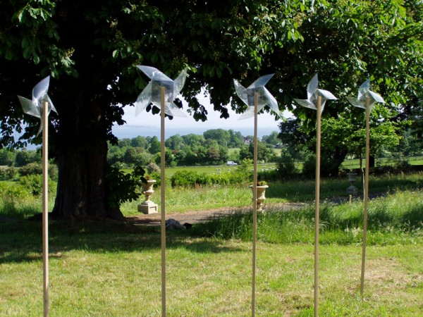 """""""Tilt at windmills"""" 2006 (view of the installation on the grounds of the Lauriston Castle in Edinburgh - 5 windmills)"""