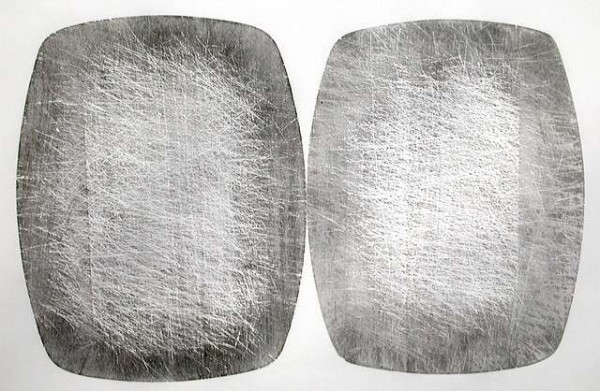 """""""Two sides"""" 2009 (relief print from both sides of one chopping board) 57 x 76 cm"""