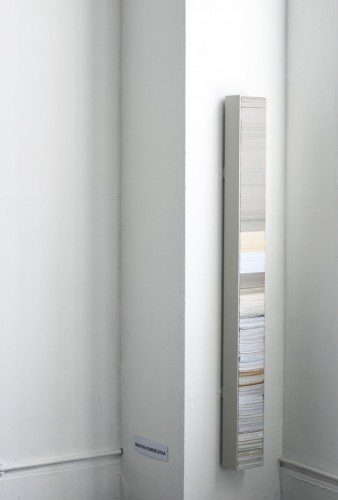 """""""Pole"""" 2008: chest filled with stack of cut paper, cardboard, personal notes, old notebooks, etc. 160 x 15 x 10 cm (presented at the Edinburgh College of Art degree show 2008)"""