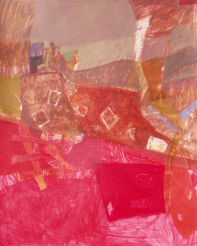 """Flying squares"" 2006 (acrylics and crayons on cardboard. 114 x 85 cm)"