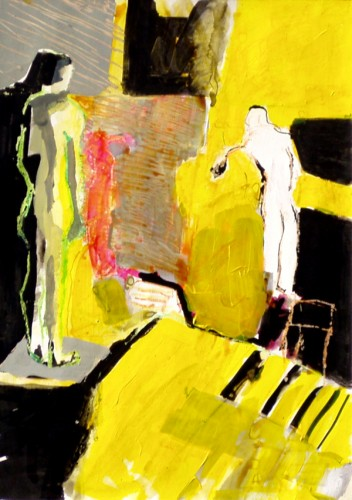 """Two people in yellow"" 2005 (acrylics, inks and crayons on cardboard. 51 x 38 cm)"