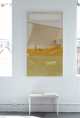 """""""Journey"""" 2008: painting consisting of three sections. sheet, canvas, collaged hessian, crayons, acrylics, Polish beeswax, oil paints. 218 x 120 cm in total (presented at the Edinburgh College of Art degree show 2008)"""