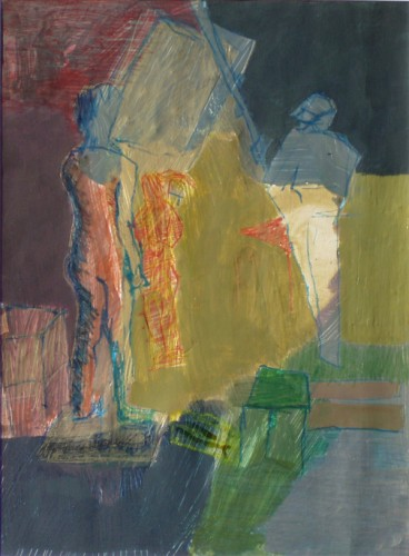 """Two people in blue"" 2005 (acrylics and crayons on cardboard. 51 x 38 cm)"