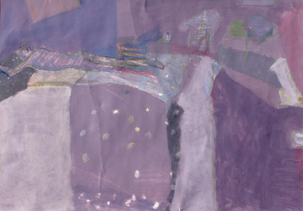 """Purple dots"" 2005 (acrylics and crayons on cardboard. 47 x 67 cm)"