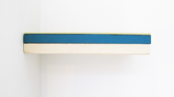 """""""Sea"""" 2011 (found wooden box, household paint, beeswax. 4.5 x 25.5 x 15 cm installed at the eye level)"""