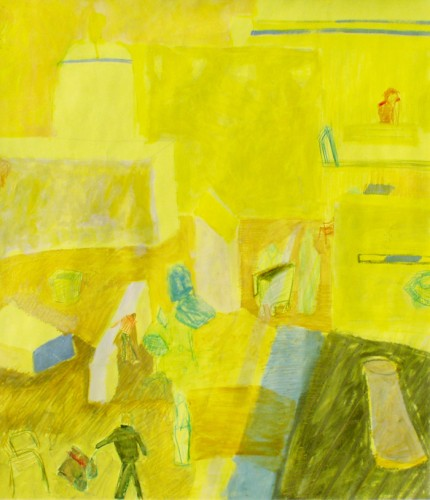 """Yellow hall"" 2005 (acrylics and crayons on cardboard. 85 x 67 cm)"
