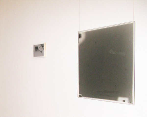 """left: """"Flight"""" 2003 (photograph 10x14cm), right: """"Flight 2"""" 2011 (astrophotographical plate of the night sky - manipulated 35.5 x 35.5 cm)"""