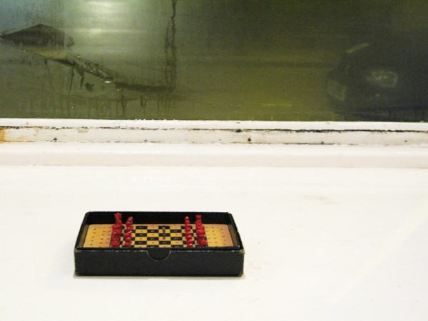"""""""Entrapment"""" 2011 (Elements of two sets of chess sets. 3 x 16.5 x 12.5 cm)"""